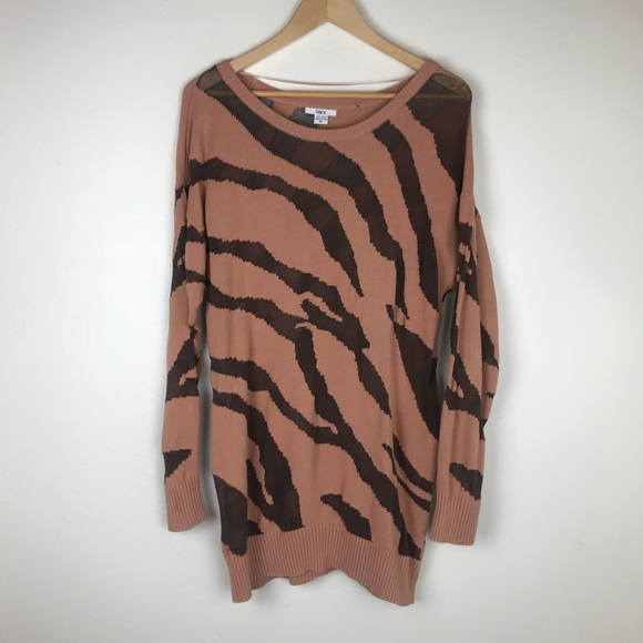 Bar III Sweaters - Bar III Pink Animal Print Sheer Sweater Medium